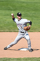 Akron RubberDucks second baseman Joe Wendle (7) attempts to turn a double play during a game against the Erie SeaWolves on May 18, 2014 at Jerry Uht Park in Erie, Pennsylvania.  Akron defeated Erie 2-1.  (Mike Janes/Four Seam Images)