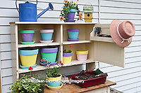 63821-200.12 Potting bench with containers and flowers in spring, Marion Co. IL