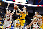 SIOUX FALLS, SD - MARCH 8: Michelle Gaislerova #22 of the North Dakota State Bison goes up for a layup against the Denver Pioneers at the 2020 Summit League Basketball Championship in Sioux Falls, SD. (Photo by Richard Carlson/Inertia)