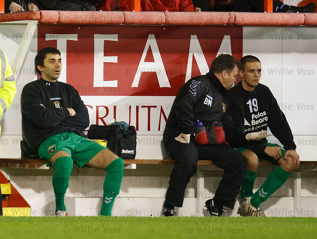 Goran Stanic sits on the East Fife Bench after being subbed to make way for the second goalkeeper