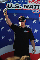 Sept. 6, 2010; Clermont, IN, USA; NHRA pro stock motorcycle rider Jim Underdahl during driver introductions prior to the U.S. Nationals at O'Reilly Raceway Park at Indianapolis. Mandatory Credit: Mark J. Rebilas-