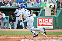 Southern Divisions first baseman Chad Spanberger (24) of the Asheville Tourists rounds the bases after hitting a home run during the South Atlantic League All Star Game at First National Bank Field on June 19, 2018 in Greensboro, North Carolina. The game Southern Division defeated the Northern Division 9-5. (Tony Farlow/Four Seam Images)