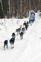DeeDee Jonrowe w/Iditarider on Trail 2005 Iditarod Ceremonial Start near Campbell Airstrip Alaska SC
