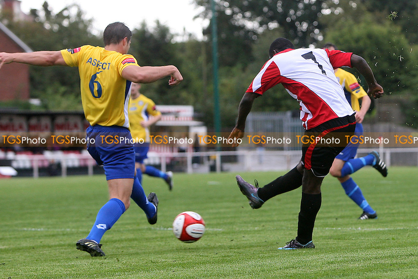 Tambeson Eyong scores the first goal for Hornchurch - AFC Hornchurch vs Concord Rangers - FA Cup 1st Qualifying Round Football at The Stadium - 17/09/11 - MANDATORY CREDIT: Gavin Ellis/TGSPHOTO - Self billing applies where appropriate - 0845 094 6026 - contact@tgsphoto.co.uk - NO UNPAID USE.