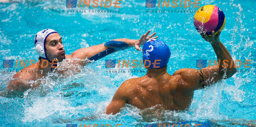 Eindhoven , Netherlands (Nederland ) 16 - 29 January 2012.LEN European  Water Polo Championships 2012.Day 06 - Men.Macedonia  (White) - Italia  (Blue)..Macedonia .1 PERCINIC Dalibor.2 RACUNICA Igor.3 VUKSANOVIC Ivan.4 MISIC Sasa5 KALINIC Uros.6 KRECKOVIC Vladimir.7 IVOVIC Blagoje8 DIMOVSKI Dimitar.9 RANDZIC Miroslav.10 PETROVIC Milan.11 LETICA Boris.12 BENIC Danijel.13 MILANOVIC Igor..ITA.1 PASTORINO.Giacomo.2 PEREZ Amaurys.3 GITTO Niccolo.4 FIGLIOLI Pietro.5 GIORGETTI Alex.6 FELUGO Maurizio.7 FIGARI Niccolo.8 GALLO Valentino.9 PRESCIUTTI Christian.10 FIORENTINI Deni.11 AICARDI Matteo.12 LAPENNA Federico.13 VOLAREVIC Goran..Photo Insidefoto / Giorgio Scala / Deepbluemedia.eu