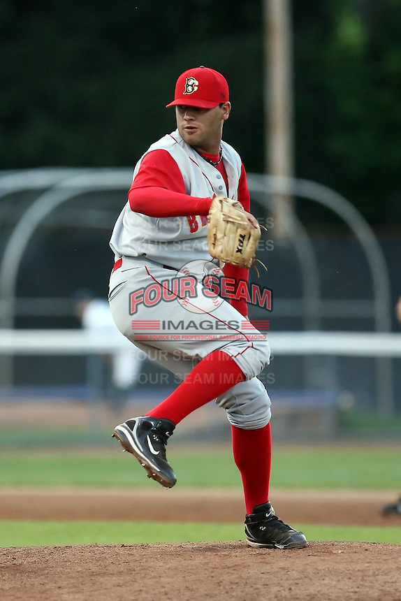 July 11th 2008:  Pitcher Matias Carrillo (48) of the Brooklyn Cyclones, Class-A affiliate of the NY Mets, during a game at Russell Diethrick Park in Jamestown, NY.  Photo by:  Mike Janes/Four Seam Images