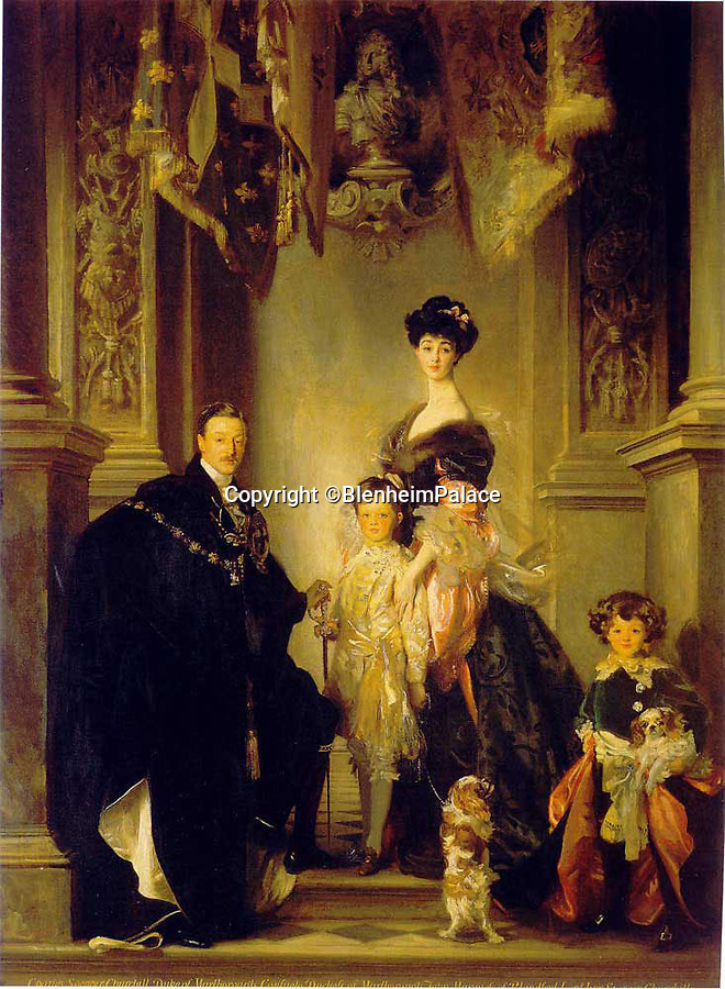 BNPS.co.uk (01202 558833)<br /> Pic: BlenheimPalace/BNPS<br /> <br /> Consuelo and the 9th Duke with their children at Blenheim in a painting by John Singer Sargent.<br /> <br /> Paper View - The 'Wedding that saved Blenheim Palace' finally appears in Oxfordshire.<br /> <br /> The New York wedding of the 9th Duke of Marlborough to the fantastically wealthy American railroad heiress Consuelo Vanderbilt, has been recreated in paper at Blenheim Palace.<br /> <br /> Charles Spencer-Churchill had inherited his near-bankrupt dukedom in 1892, and was forced to find a quick and drastic solution to the financial problems of his family. <br /> <br /> Prevented by the social dictates of Victorian high society from earning money, he was left with one solution; to marry it.<br /> <br /> Although an unhappy marriage , it did manage to save the Palace where  Winston Churchill had been born in 1874.