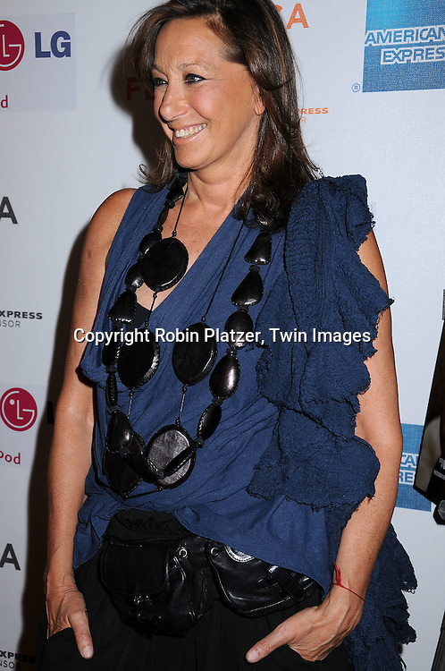 "Donna Karan in jewelry from Nabibia..posing for photographers at The 2008 Tribeca Film Festival's screening of "" ""I Am Because We Are"", which is ..executive produced by Madonna, on April 24, 2008 at BMCC/TPAC. ..Robin Platzer, Twin Images"
