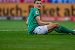 Maximilian Eggestein (Werder Bremen #35)<br />  Verletzung / verletzt / Schmerzen<br /> <br /> <br /> Sport: Fussball: 1. Bundesliga: Saison 19/20: <br /> 26. Spieltag: SV Werder Bremen vs Bayer 04 Leverkusen, 18.05.2020<br /> <br /> Foto ©  gumzmedia / Nordphoto / Andreas Gumz / POOL <br /> <br /> Nur für journalistische Zwecke! Only for editorial use!<br />  DFL regulations prohibit any use of photographs as image sequences and/or quasi-video.