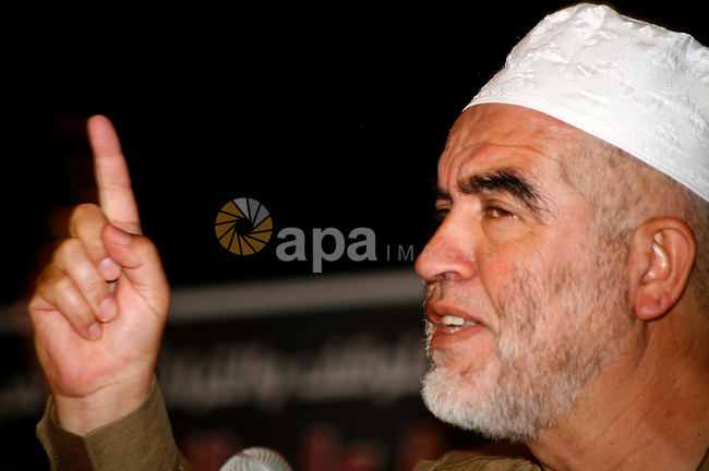 Sheikh Raed Salah during a press conference to reveal the last of Israeli assaults on al-Aqsa Mosque and the hill of Bab al-maghareba, in Jerusalem city on 31 July 2012. Photo by Mahfouz Abu Turk