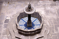 Fountain decorated with blue and white Talavera tiles, Museo Casa del Afenique, Puebla, Mexico. The historical center of Puebla is a UNESCO World Heritage Site.