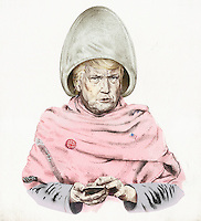 Satirical cartoon of President Donald Trump using smart phone while under hair dryer wearing sexist badge