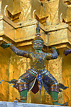 Yaksha Guardian helps to support a chedi within the Grand Palace and Wat Phra Kaeo Bangkok, Thailand