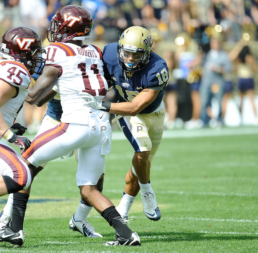 Pittsburgh Panthers Jarred Holley (18) in action during a game against the Virginia Tech Hokies on September 15, 2012 at Heinz Field in Pittsburgh, PA. Pittsburgh beat Virginia Tech 35-17.