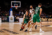 22nd March 2018, Wizink Centre, Madrid, Spain; Turkish Airlines Euroleague Basketball, Real Madrid versus Zalgiris Kaunas; Kevin Pangos (Zalgiris Kaunas) brings the ball foward against Jeffery Taylor (Real Madrid Baloncesto)