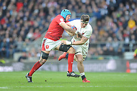 Tom Curry of England looks to go through Justin Tipuric of Wales during the Guinness Six Nations match between England and Wales at Twickenham Stadium on Saturday 7th March 2020 (Photo by Rob Munro/Stewart Communications)