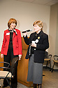 Jane Turnbull of the League of Women Voters speaks while Santa Clara County Supervisor Liz Kniss looks on. This forum entitled Strategies for a Sustainable Santa Clara County: Developing Goals and Planning Tools was held at the Silicon Valley Community Foundation (SVCF) in Mountain View, CA from 9 AM to Noon on 1/25/2008. The event was sponsored by Leagues of Women Voters of Santa Clara County and Office of County Supervisor Liz Kniss.