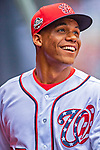 20 May 2018: Washington Nationals outfielder Juan Soto smiles in the dugout prior to his first Major League appearance against the Los Angeles Dodgers at Nationals Park in Washington, DC. The Dodgers defeated the Nationals 7-2, sweeping their 3-game series. Mandatory Credit: Ed Wolfstein Photo *** RAW (NEF) Image File Available ***