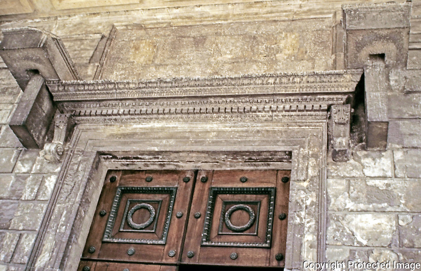 Maison Carrée door and mantel detail