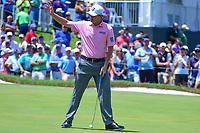 Brandt Snedeker (USA) reacts to sinking his putt on 9 during round 2 of the Dean &amp; Deluca Invitational, at The Colonial, Ft. Worth, Texas, USA. 5/26/2017.<br /> Picture: Golffile | Ken Murray<br /> <br /> <br /> All photo usage must carry mandatory copyright credit (&copy; Golffile | Ken Murray)