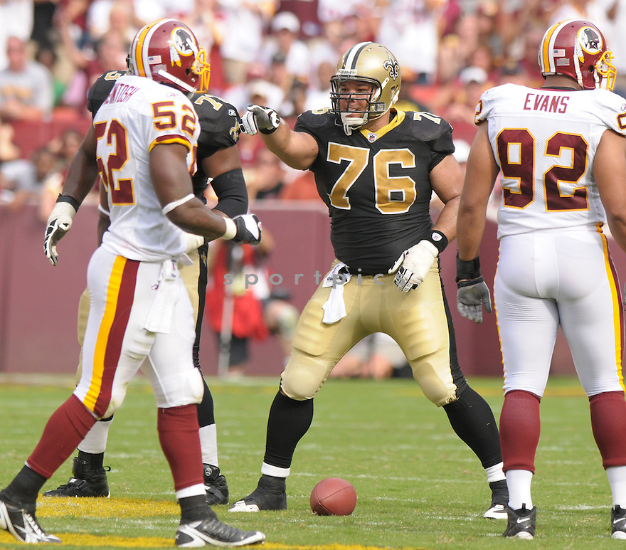JONATHAN GOODWIN, of the New Orleans Saints, in action during the Saints game against the Washington Redskins on September 14, 2008 in Washington DC...Redskins win 29-24..SportPics