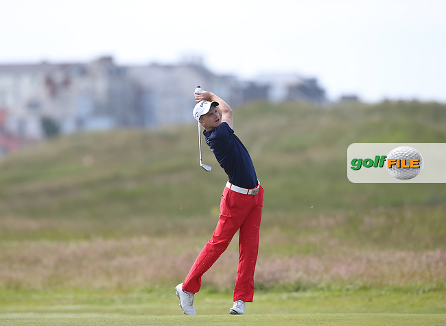 Ashton Turner (Kenwick Park) had his 1 shot lead eradicated on the last but held on to win the match on the 19th against Kenny Subregis (France) during Round One of the Match Play at The Amateur Championship 2014 from Royal Portrush Golf Club, Portrush, Northern Ireland. Picture:  David Lloyd / www.golffile.ie