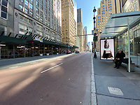 New York, New York City. An empty Fifth Avenue reflects the stay at home order due to Coronavirus.