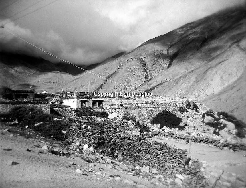 Vista of Milarepa's cave village, Tibet