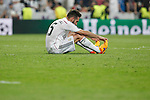Real Madrid´s Daniel Carvajal regrets the defeat after the Champions League semi final soccer match between Real Madrid and Juventus at Santiago Bernabeu stadium in Madrid, Spain. May 13, 2015. (ALTERPHOTOS/Victor Blanco)