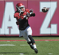 NWA Democrat-Gazette/MICHAEL WOODS &bull; @NWAMICHAELW<br /> University of Arkansas receiver Keon Hatcher (4) runs drills during practice Thursday, August 20, 2015 in Fayetteville.