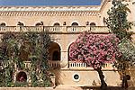 Israel, Jerusalem. Oleander in Ratisbonne Monastery
