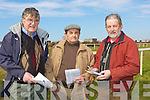 BETS: Thinking of which horse to bet on in the first race at the North Kerry harriers Point to Point Race in Ballytbunion on Saturday l-r: Colm O'Callaghan (Moyvane), Andrew Pierce and Sean Stack (Ballybunion).................................. ....