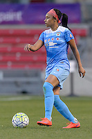 Bridgeview, IL, USA - Saturday, April 23, 2016: Chicago Red Stars defender Samantha Johnson (16) during a regular season National Women's Soccer League match between the Chicago Red Stars and the Western New York Flash at Toyota Park. Chicago won 1-0.