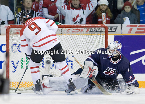 Nazem Kadri (Canada - 9), Jack Campbell (USA - 1) - Team Canada defeated Team USA 5-4 (SO) on Thursday, December 31, 2009, at the Credit Union Centre in Saskatoon, Saskatchewan, during the 2010 World Juniors tournament.