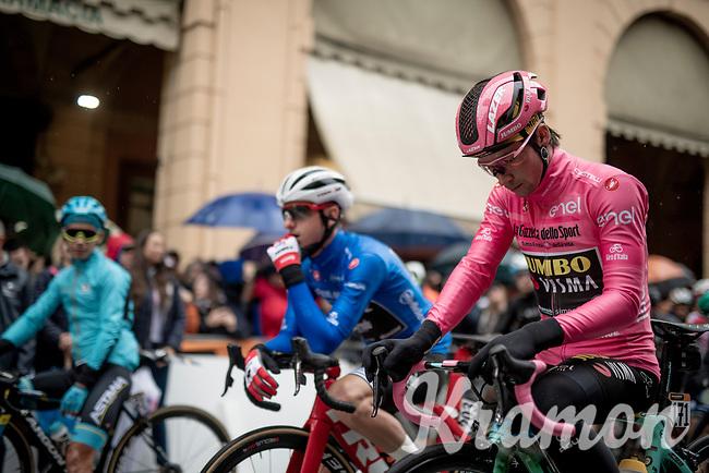 Maglia Rosa / overall leader Primoz Roglic (SVK/Jumbo-Visma) at the race start in Bologna<br /> <br /> Stage 2: Bologna to Fucecchio (200km)<br /> 102nd Giro d'Italia 2019<br /> <br /> ©kramon