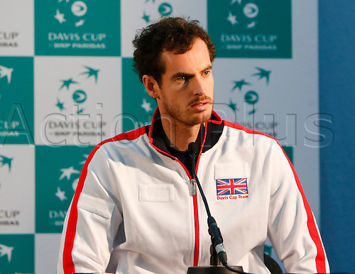 04.03.2016. Barclaycard Arena, Birmingham, England. Davis Cup Tennis World Group First Round. Great Britain versus Japan.Jamie Murray at the post-match press conference following today's doubles match between Great Britain's Andy Murray and Jamie Murray and Japan's Yoshihito Nishioka and Yasutaka Uchiyama  Great Britain now go into the third and final day's play 2-1 ahead.