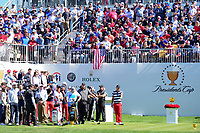 Marc Leishman (AUS) and Kevin Chappell (USA) listen to the crowd chants before round 4 Singles of the 2017 President's Cup, Liberty National Golf Club, Jersey City, New Jersey, USA. 10/1/2017. <br /> Picture: Golffile | Ken Murray<br /> <br /> All photo usage must carry mandatory copyright credit (&copy; Golffile | Ken Murray)