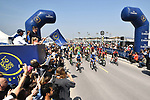 The start of Stage 5 The Meraas Stage final stage of the Dubai Tour 2018 the Dubai Tour&rsquo;s 5th edition, running 132km from Skydive Dubai to City Walk, Dubai, United Arab Emirates. 10th February 2018.<br /> Picture: LaPresse/Massimo Paolone | Cyclefile<br /> <br /> <br /> All photos usage must carry mandatory copyright credit (&copy; Cyclefile | LaPresse/Massimo Paolone)