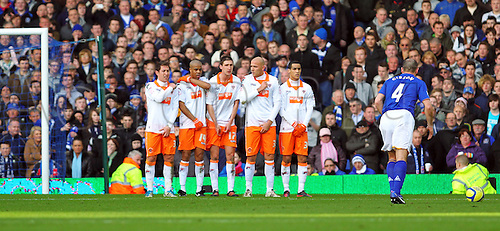 18.2.2012 Liverpool, England.  Everton Republic of Ireland Midfielder Darron Gibson about to take a free kick against the Blackpool wall during the Budweiser FA Cup match between Everton and Blackpool, played at Goodison Park. Everton won by a score of 2-0 to move into the 6th round.