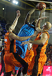 Montakit Fuenlabrada's Marko Popovic (l) and Xavi Rey (r) and Alba Berlin's Dominique Johnson during Eurocup, Regular Season, Round 6 match. November 16, 2016. (ALTERPHOTOS/Acero)