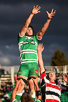 Manawatu captain Nick Crosswell goes high for lineout ball during the Air NZ Cup rugby match between Manawatu Turbos and Counties-Manukau Steelers at FMG Stadium, Palmerston North, New Zealand on Sunday, 2 August 2009. Photo: Dave Lintott / lintottphoto.co.nz