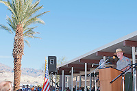 Terry Baldino, Chief of Interpretation at Death Valley National Park, addresses the audience at the Grand Re-Opening of the Furnace Creek Visitor Center on November 4, 2012.