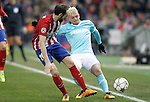 Atletico de Madrid's Juanfran Torres (l) and PSV Eindhoven's Maxime Lestienne during UEFA Champions League match. March 15,2016. (ALTERPHOTOS/Acero)