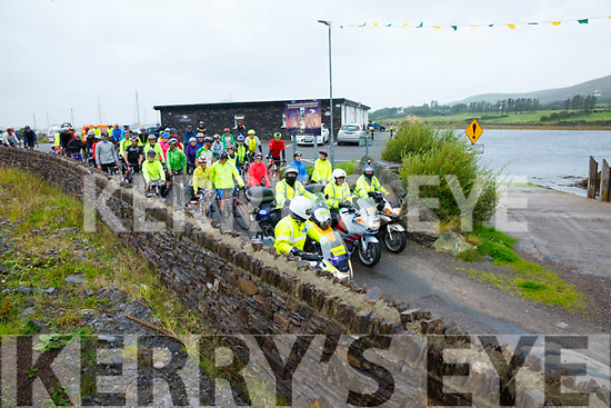 Bad weather for the Mike Murphy Memorial cycle didn't deter the 122 cyclists who braved the elements on Saturday pictured here at the start of the Cycle.