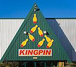 Kingpin bowling alley sign at Martlesham, Suffolk, England