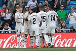 Real Madrid's players celebrate goal during La Liga match between Real Madrid and Villarreal CF at Santiago Bernabeu Stadium in Madrid, Spain. May 05, 2019. (ALTERPHOTOS/A. Perez Meca)