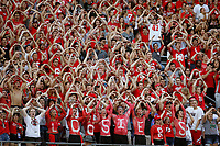 The student section on the north end leads a cheer during the second half of the NCAA football game between the Ohio State Buckeyes and the Indiana Hoosiers at Ohio Stadium on Saturday, October 6, 2018. [Jonathan Quilter/Dispatch]