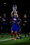 Atletico de Madrid's Diego Godin celebrates the Super Cup Tittle after La Liga match. August 25, 2018. (ALTERPHOTOS/A. Perez Meca)
