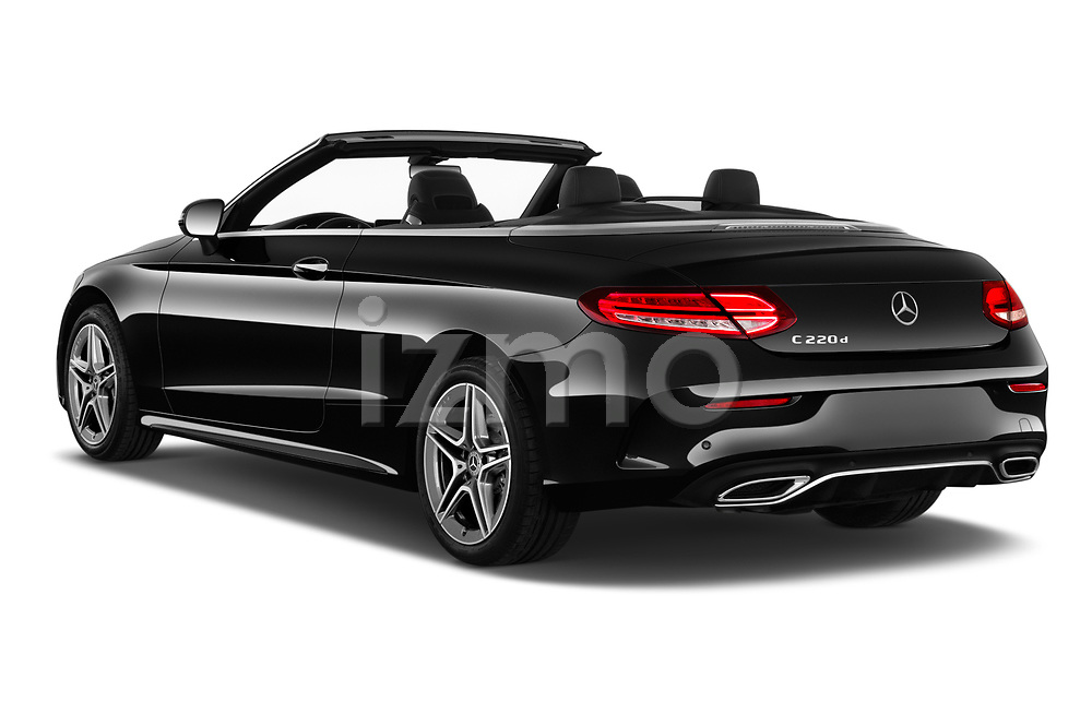 Car pictures of rear three quarter view of 2019 Mercedes Benz C-Class AMG-Line 2 Door Convertible Angular Rear