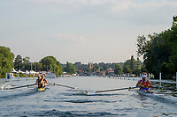 """Henley on Thames, United Kingdom, 3rd July 2018, Friday,  """"Henley Royal Regatta"""",  Heat of """"The Silver Goblets and Nickalls challeng Cup"""" left AUS M2-, right,  ROU M2-' Henley Reach, River Thames, Thames Valley, England, UK."""